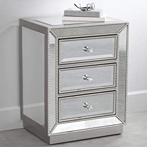 """Trevi 20"""" Wide 3-Drawer Silver Mirrored Accent Table"""