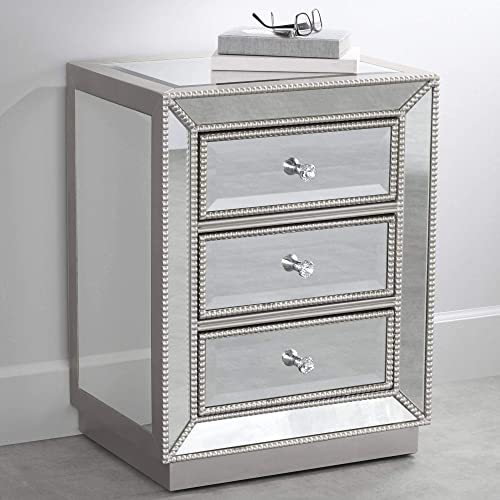Trevi 20″ Wide 3-Drawer Silver Mirrored Accent Table