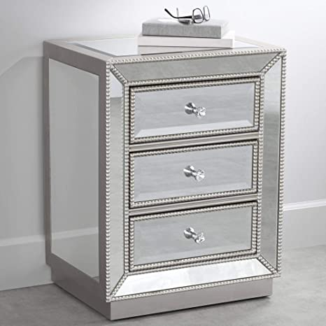 Amazon Com Trevi 20 Wide 3 Drawer Silver Mirrored Accent Table Kitchen Dining