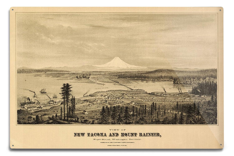 タコマ、パノラママップ – 1878 12 x 18 Metal Sign LANT-1188-12x18M B06Y1FJHGM  12 x 18 Metal Sign