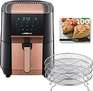 GoWISE USA 7-Quart Air Fryer & Dehydrator - with Ergonomic Touchscreen Display with Stackable Dehydrating Racks with Preheat & Broil Functions + 100 Recipes (Black/Copper))