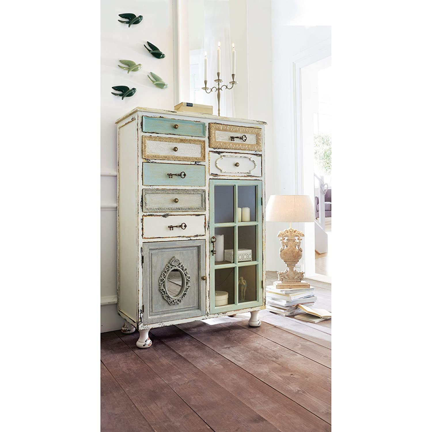 miavilla schrank shabby chic 7 schubladen glast r vintage wei mintgr n beige 136 5 x 91 5 x 42. Black Bedroom Furniture Sets. Home Design Ideas
