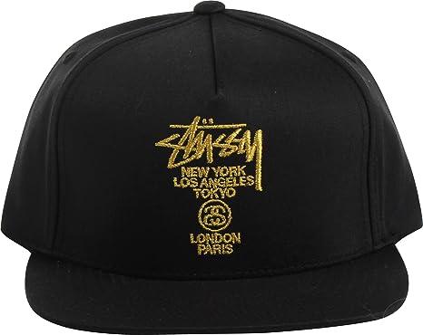 173143854cd Stussy World Tour Lux Strapback Cap Black  Amazon.co.uk  Clothing