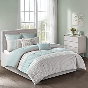 510 Design Tinsley 8 Piece Ultra Soft Quilted Comforter Set Bedding, Queen Size, Seafoam/Grey