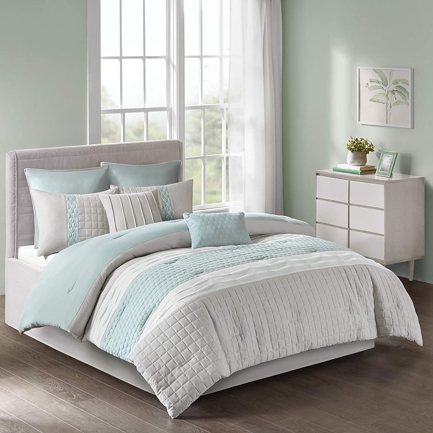 510 Design Tinsley 8 Piece Ultra Soft Quilted Comforter Set Bedding, King Size, Seafoam/Grey