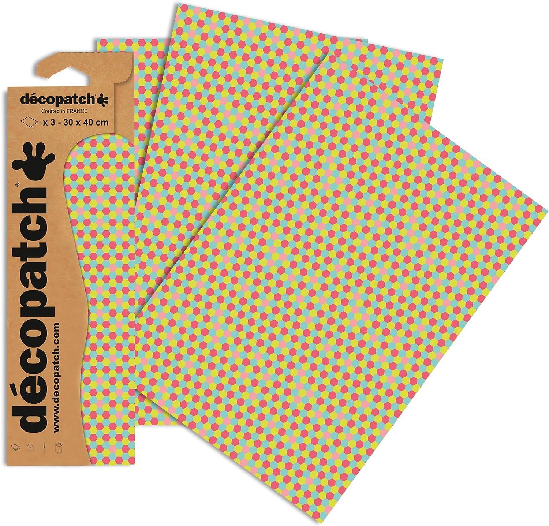 Decopatch Papier No 3er Pack bunt Waben, 395 x 298 mm 713
