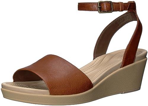 3c30acf91eba crocs Women s Leigh-Ann Ankle Strap Leather Wedge Sandal  Buy Online ...