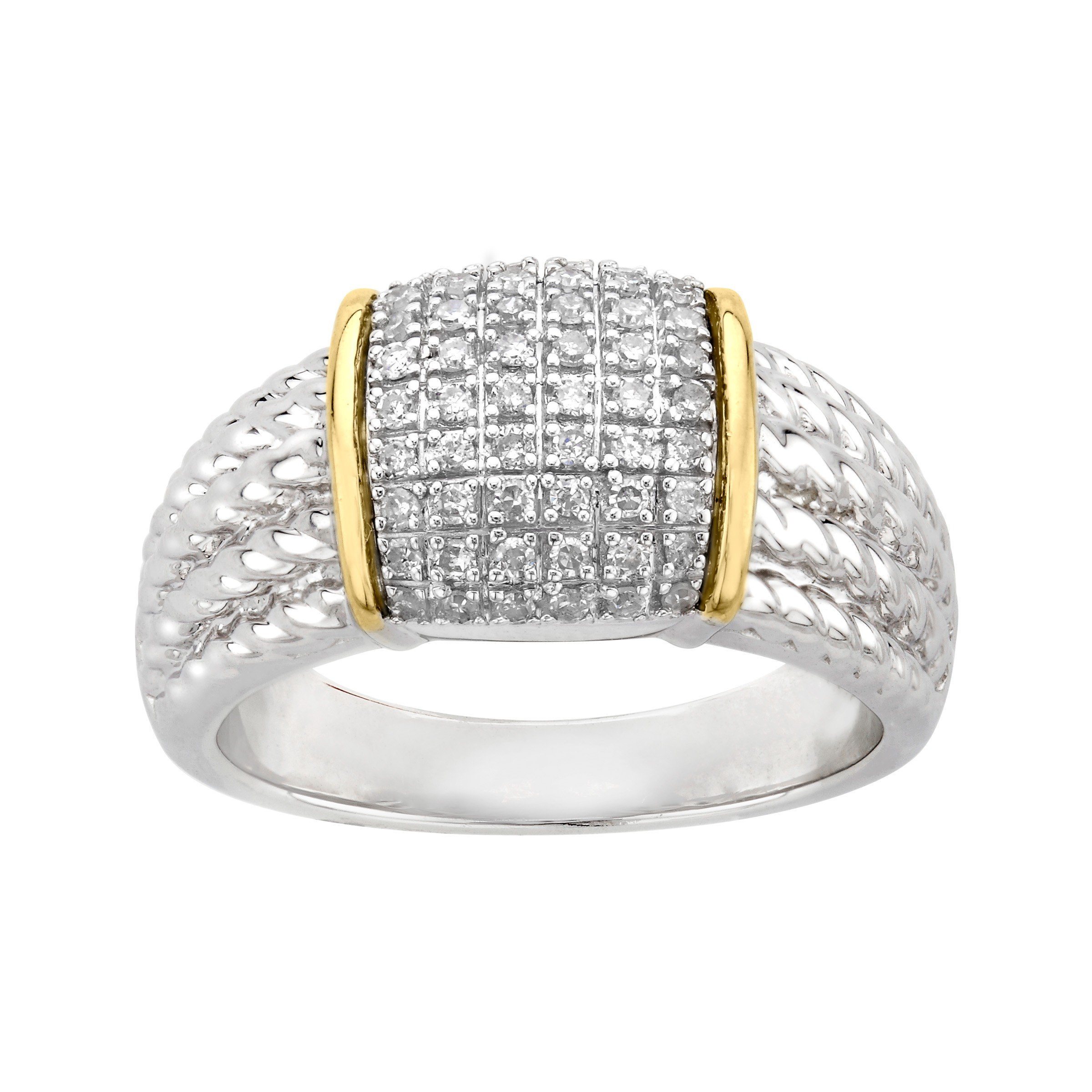 1/4 ct Diamond Pave Ring in Sterling Silver & 14K Gold Size 7