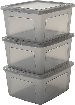 Iris Ohyama, lote de 3 cajas de almacenamiento con tapa Modular Clear Box MCB 18 Plástico, gris, 18 L, 39,5 x 34 x 19.9 cm, 18L, 3: Amazon.es: Hogar