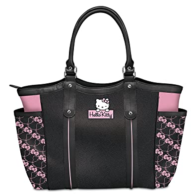 0c9fe9ea3 Amazon.com: Exclusive Applique Patch Hello Kitty Style Icon Shoulder Tote  Bag by The Bradford Exchange: Shoes