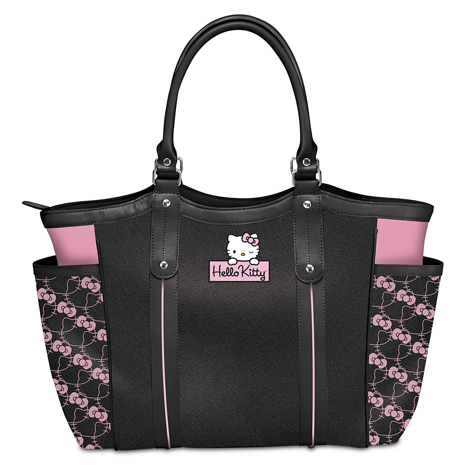 Exclusive Applique Patch Hello Kitty Style Icon Shoulder Tote Bag by The Bradford Exchange
