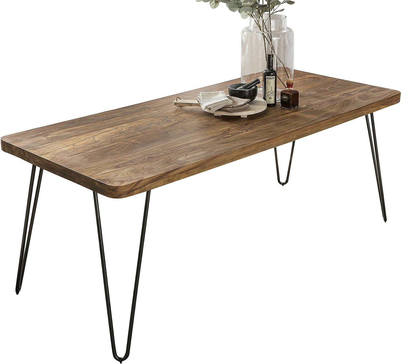 WOHNLING Esstisch Massivholz Sheesham 48 x 48 x 48 cm Esszimmer-Tisch  Küchentisch modern Landhaus-Stil Holztisch mit Metallbeinen dunkel-braun