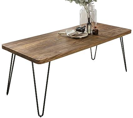 WOHNLING Esstisch Massivholz Sheesham 120 x 80 x 76 cm Esszimmer-Tisch  Küchentisch modern Landhaus-Stil Holztisch mit Metallbeinen dunkel-braun ...