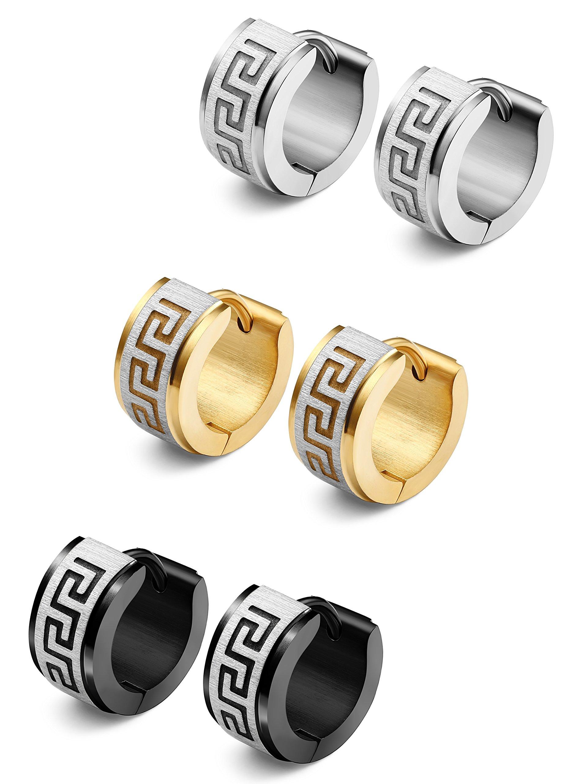 Jstyle Jewelry Stainless Steel Hoop Earrings for Men Women Huggie Earrings Unique Greek Key 3 Pairs S