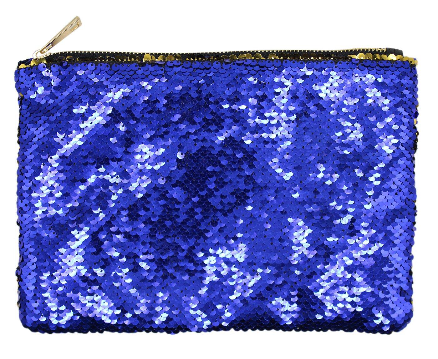 Sequin Pouch Makeup Cosmetic Bag Reversible Sequin Handbag Bling Glitter Evening Party Mermaid Clutch Beauty Bag Purse