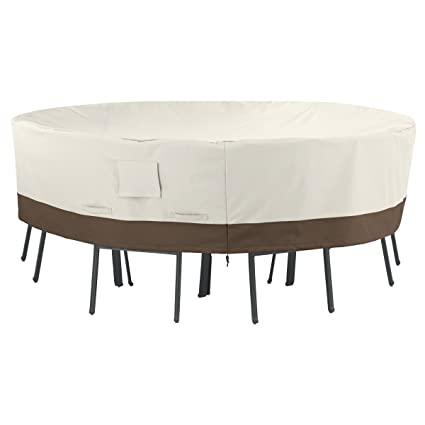Amazon.com : AmazonBasics Round Table And Chair Set Patio Cover   Large :  Garden U0026 Outdoor