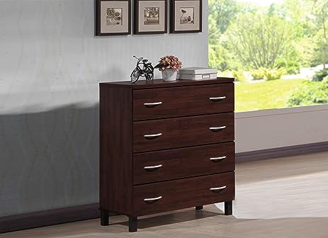 Wholesale Interiors Mason Finish Wood 4 Drawer Storage Chest, Oak Brown