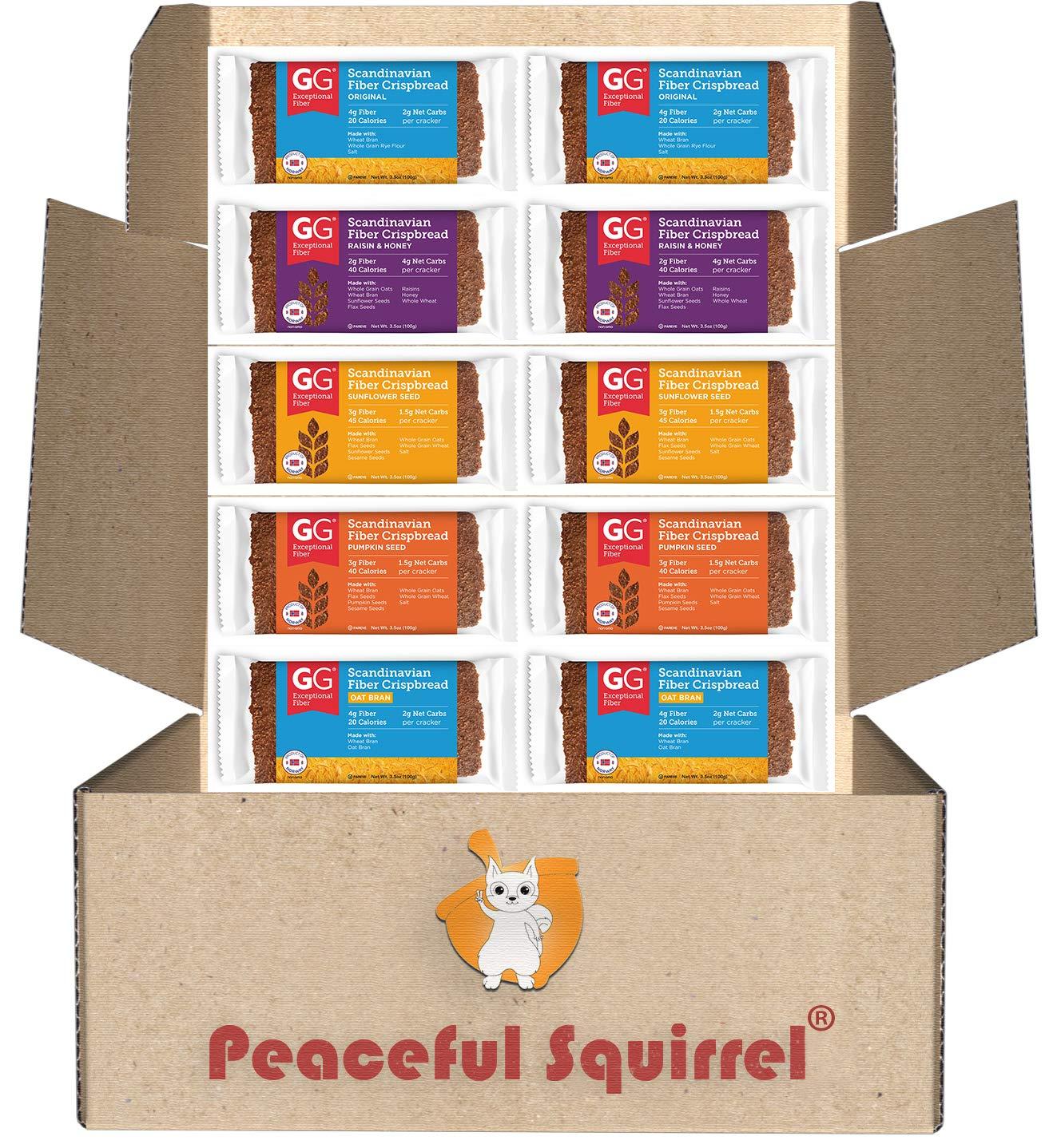 Peaceful Squirrel Variety, GG Scandinavian Crispbread Thins, Pack of 10 (2 of Each: Original, Original with Oat Bran, Sunflower Seeds, Pumpkin Seeds, Raisin & Honey) by Peaceful Squirrel (Image #2)