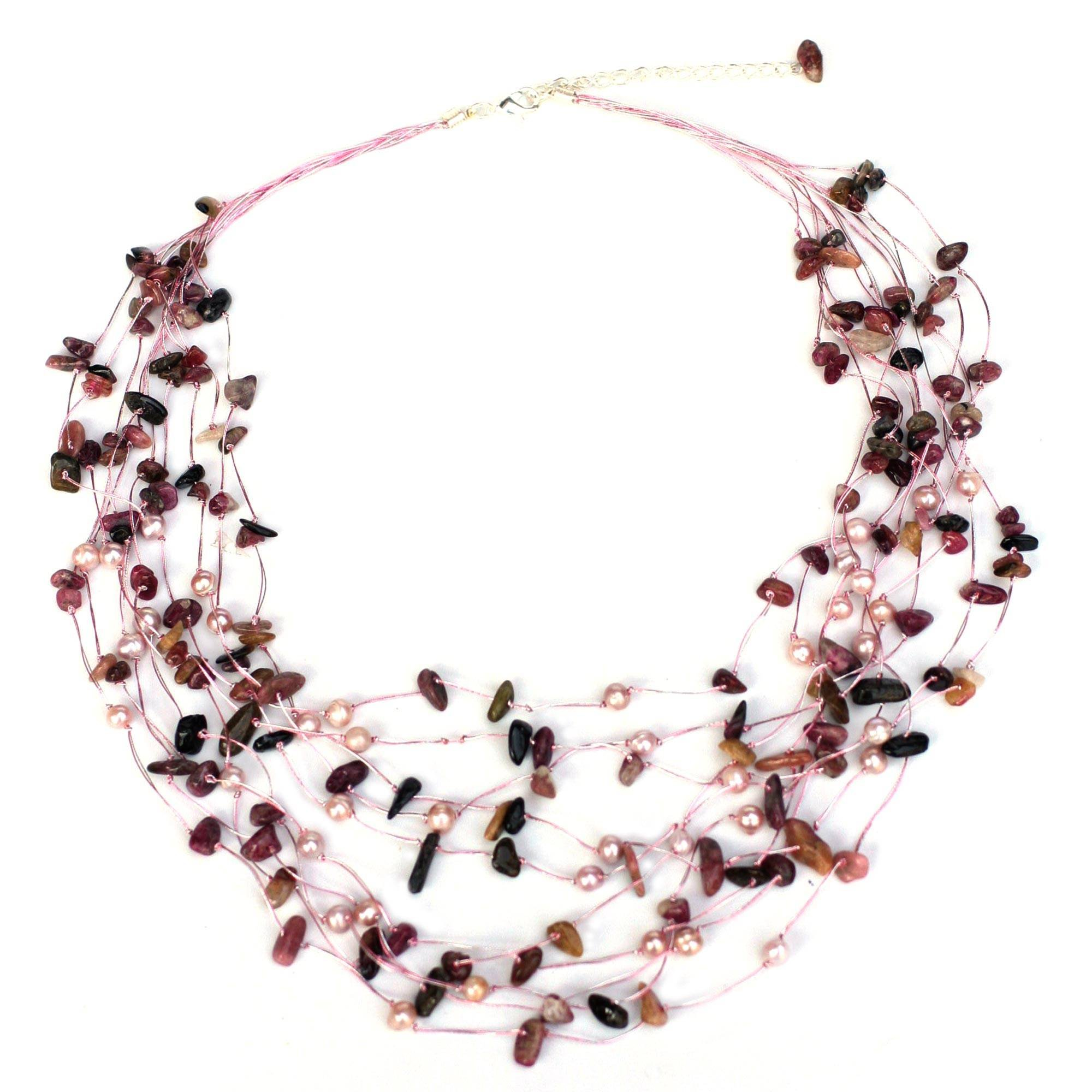 NOVICA Dyed Cultured Freshwater Pearl and Tourmaline Beaded Strand Necklace, 20'', Cascade'