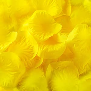 Super Z Outlet Silk Fabric Flower Mini Rose Petals for Weddings (1000 Pieces) (Yellow)