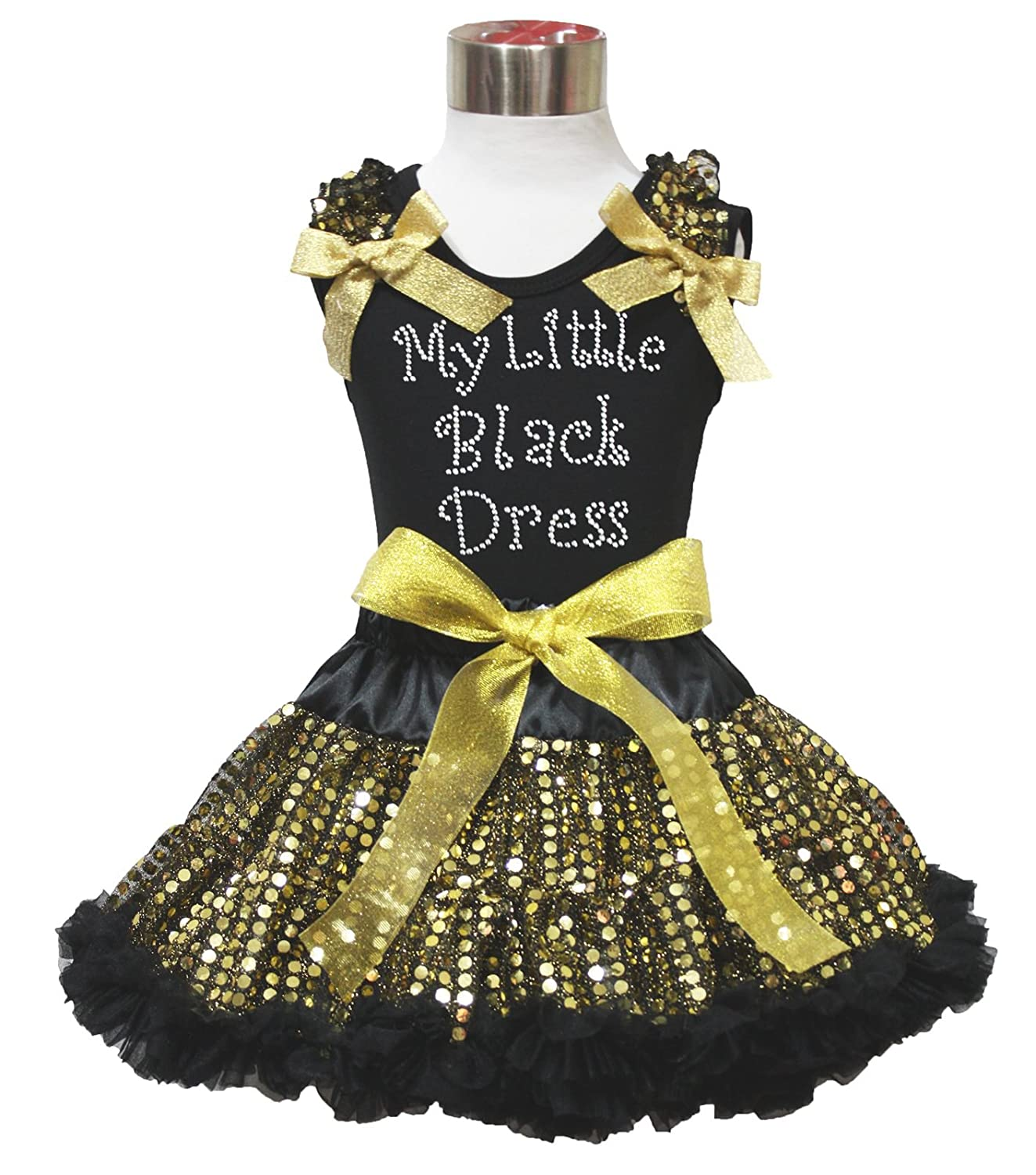 e5720b0d9a482 Amazon.com: Rhinestone My Little Black Princess Shirt Bling Gold Sequin  Skirt Outfit 1-8y: Clothing