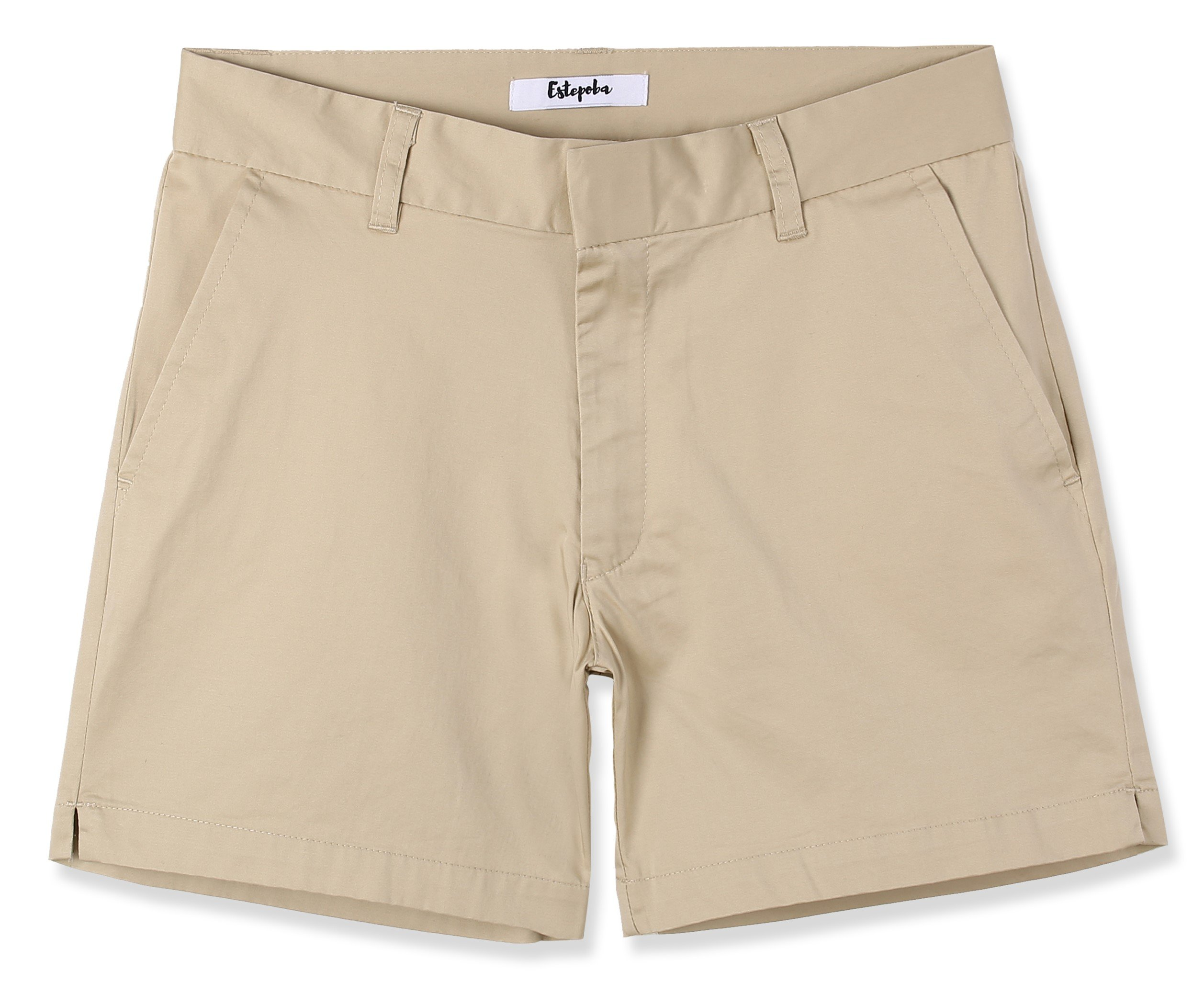 Estepoba Women's Juniors Premium Comfy Stretch Fitted Mid-Rise Chino Walk Short Light Khaki 29