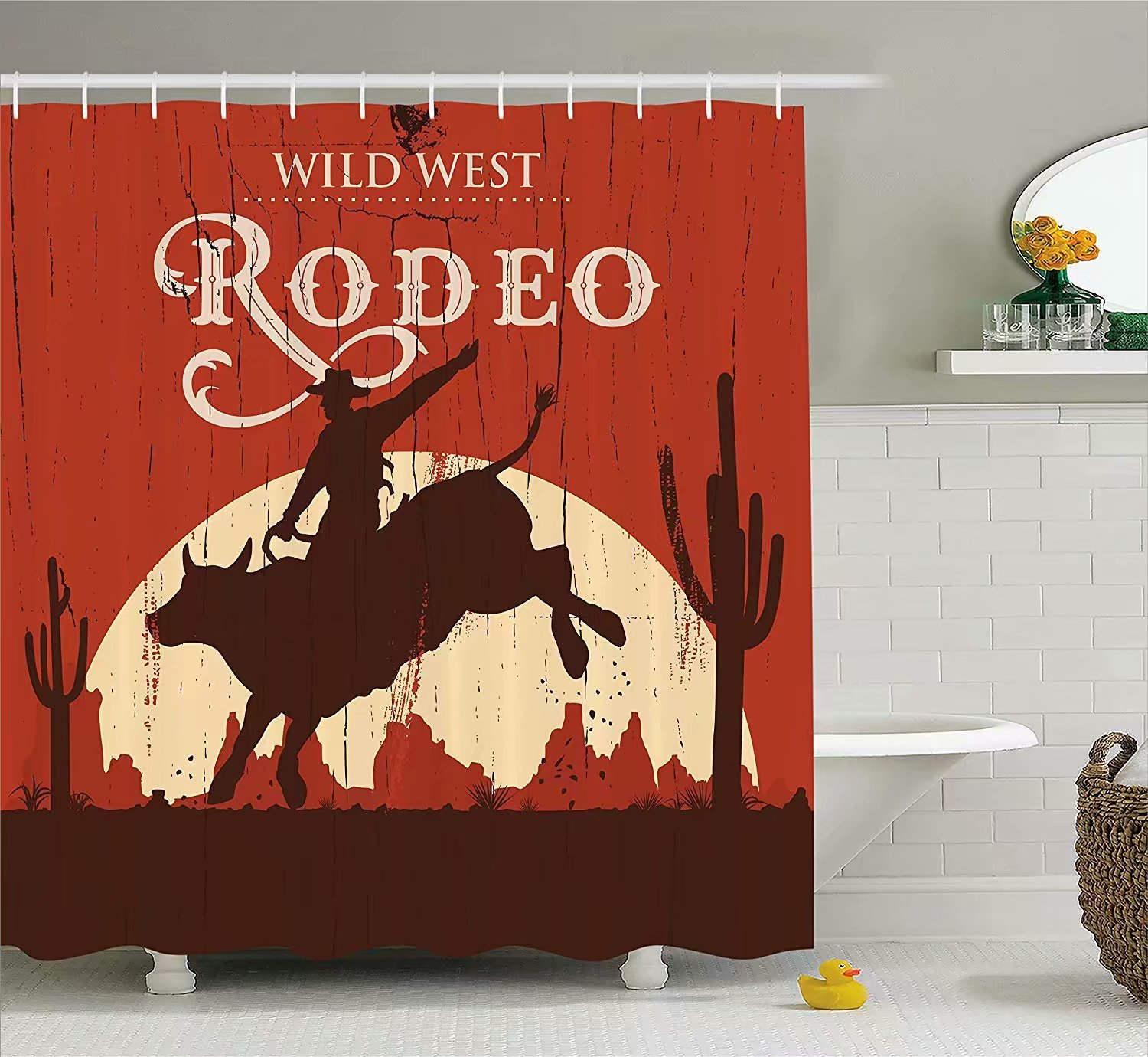 KANATSIU Rodeo Cowboy Riding Bull Wooden Sign Western Wilderness at Sunset Image Shower Curtain 12 plactic Hooks,100% Made Polyester,Mildew Resistant & Machine Washable,Width x Height is 60x72
