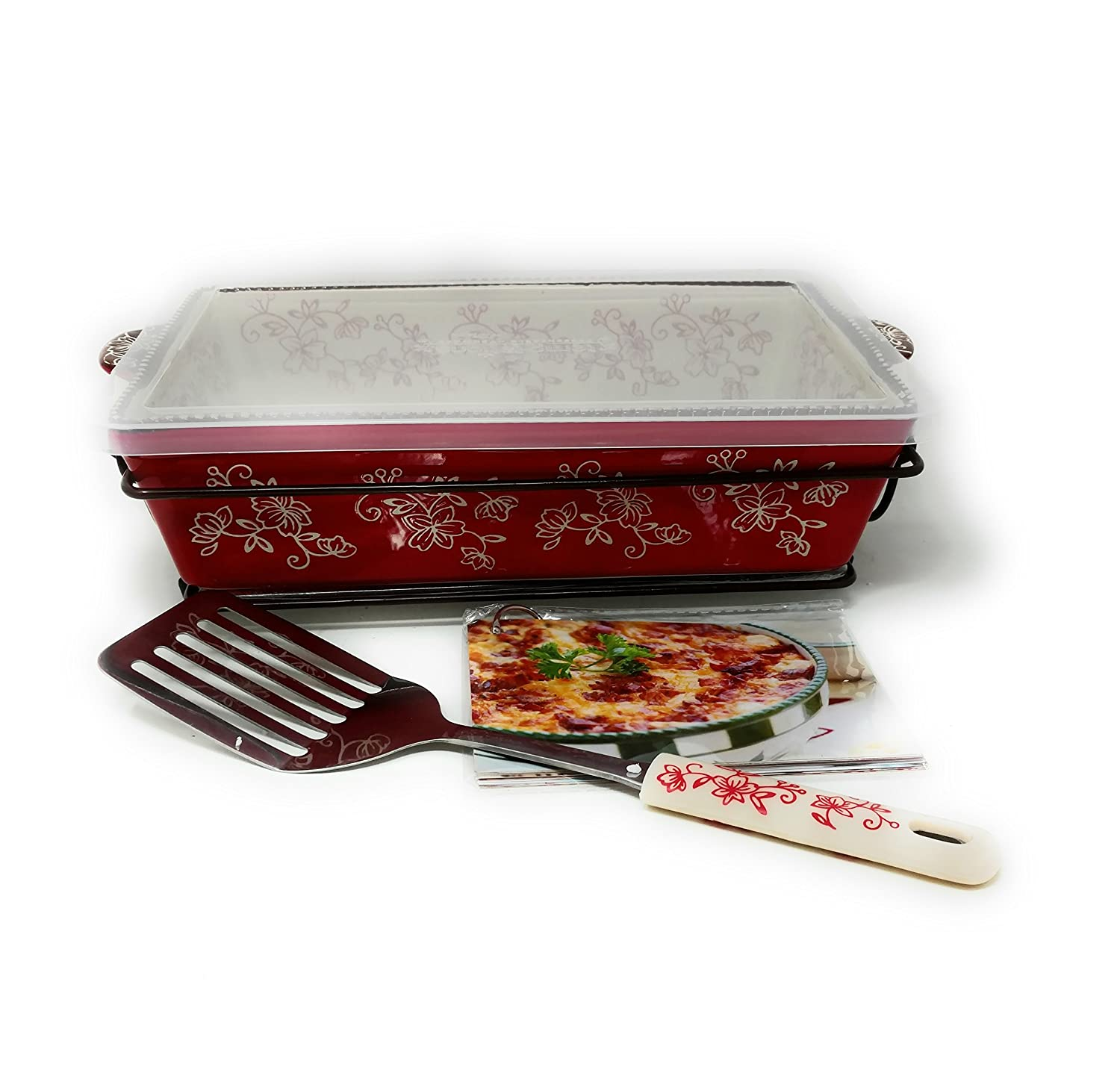 Temptations 11x7 2.5 Quart Baker, Plastic Cover, Spatula, Glass Trivet, Wire Basket & Recipe Cards (Floral Lace Red) Temp-tations