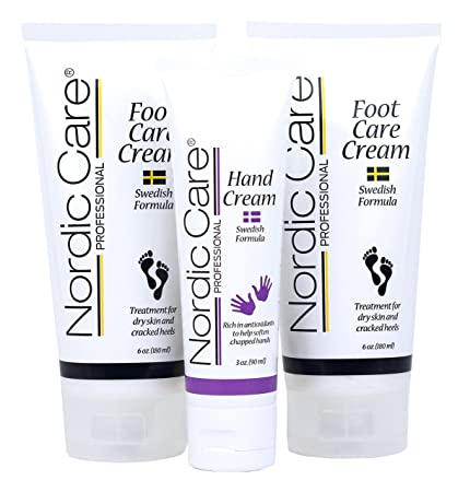Nordic Care Foot Care Cream 6 oz. Pack of 2 Plus Hand Cream. Hydrates Feet and Treats Severely Cracked Heels.
