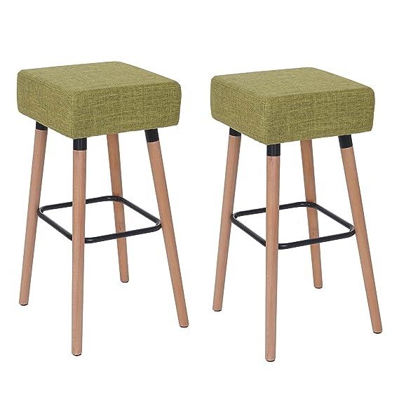 2x tabouret de bar Stirling, chaise de comptoir, tissu ~ vert clair   Amazon.fr  Cuisine   Maison c6779015b737
