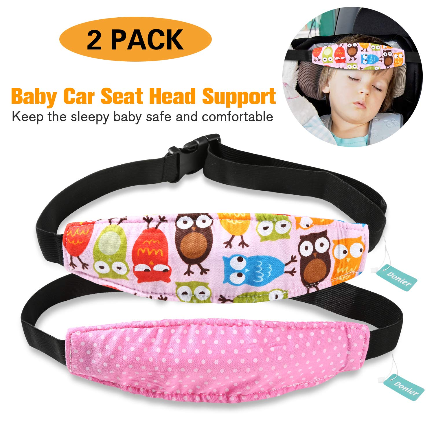 2 Packs Toddler Car Seat Neck Relief and Head Support, Pillow Support Head Band Easy Installation On Most Convertible Seats and Safety to Babies and Kids(Owls) Donier