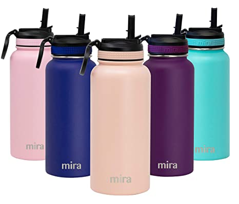 MIRA 32 oz Stainless Steel Water Bottle with Straw Lid | Vacuum Insulated  Metal Thermos Flask Keeps Cold for 24 Hours, Hot for 12 Hours | BPA-Free