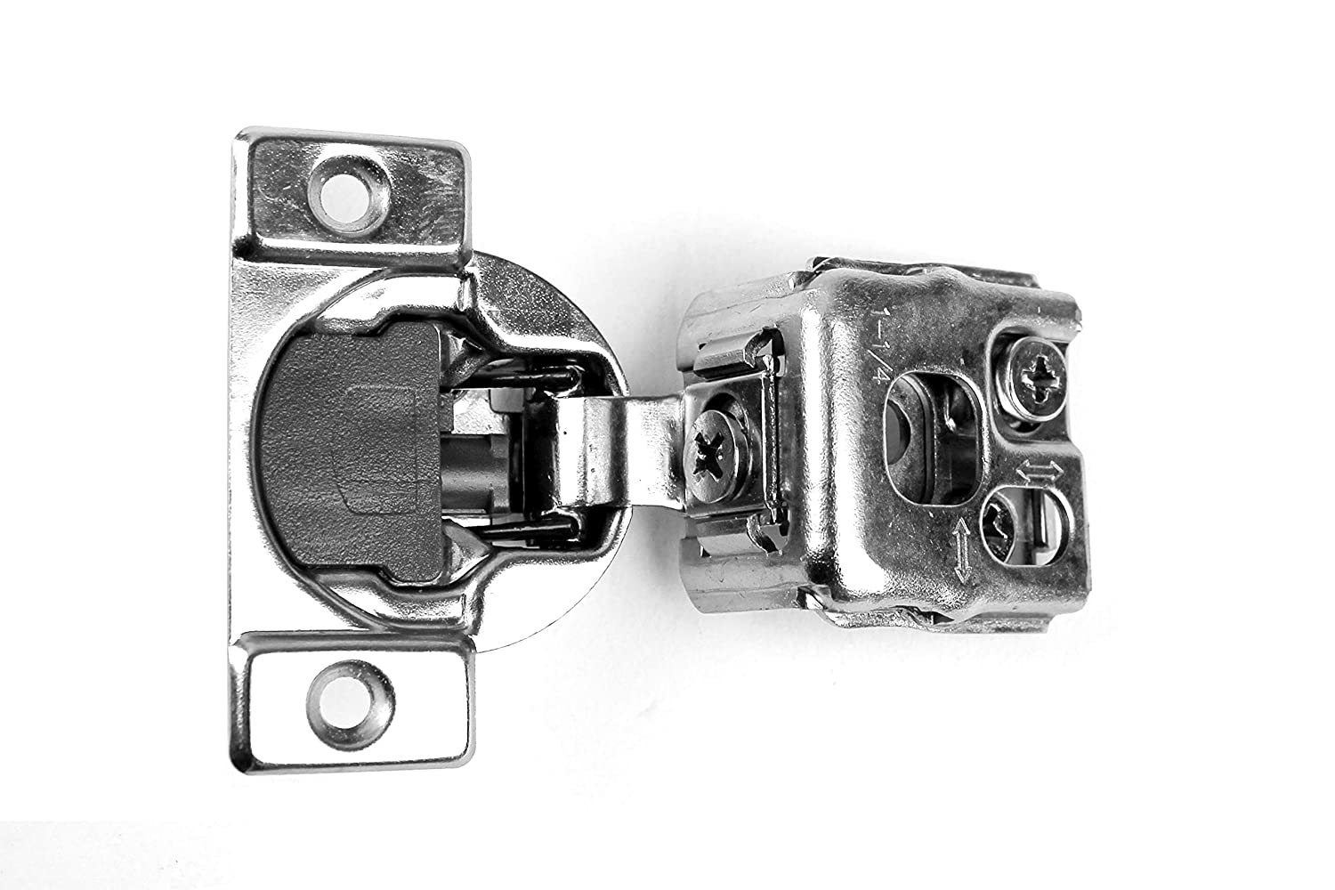 """40 Pack Berta 6-Ways 3-cam Adjustment, 1 1/4"""" Overlay Cabinet Door Hinges with Built-in Soft Close -105 Degree with Screws"""