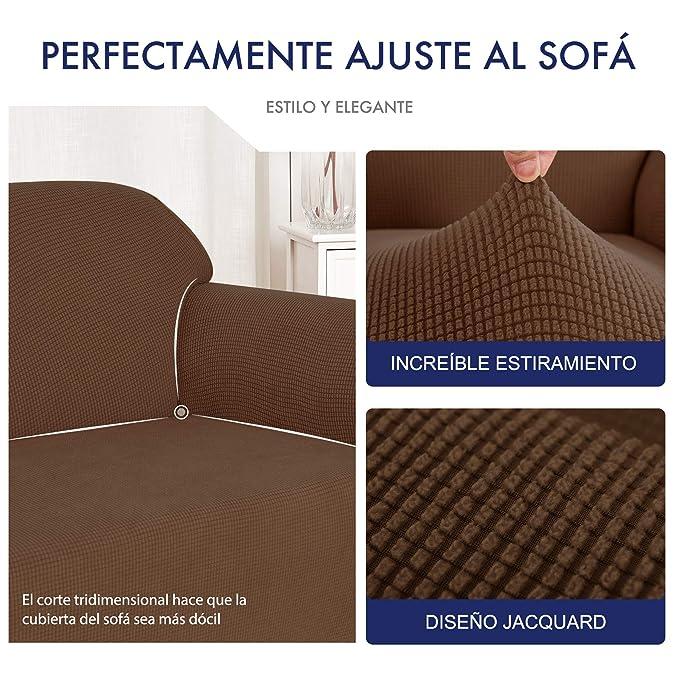 subrtex 1 Pieza Funda de Sofá Poliéster Elástica Cubierta de Asiento Forro de Sofá Doméstica (1 Plaza, Café)