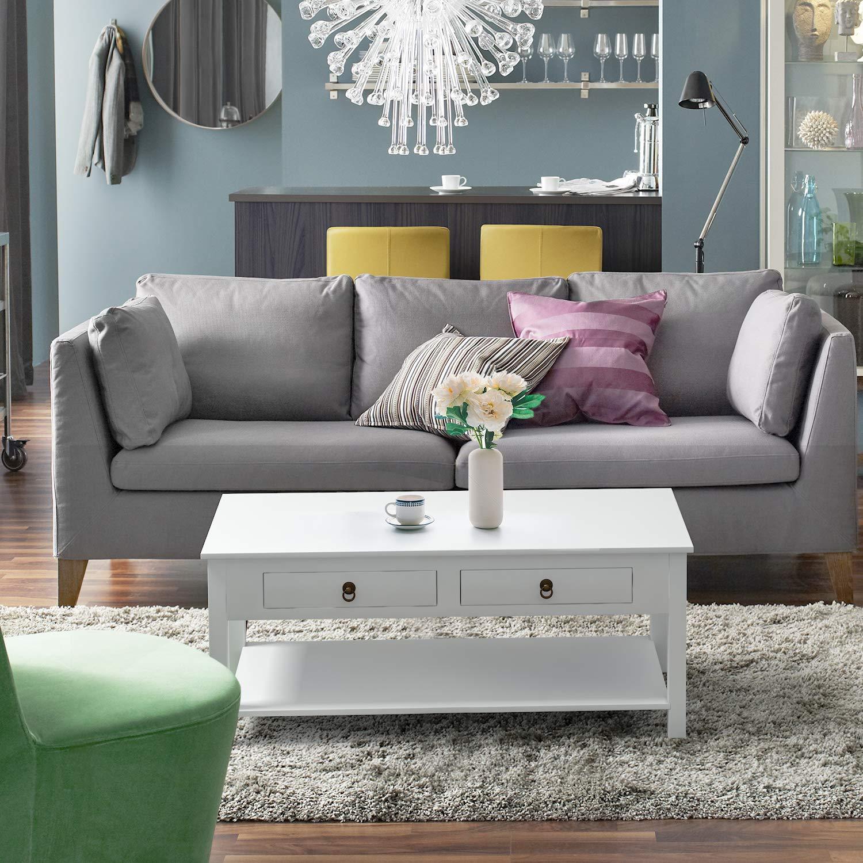Homfa Mesa de Centro Mesa de Comedor Mueble Salón Comedor con 2 Cajones y 1 Estante Blanco 110x53x45.5cm