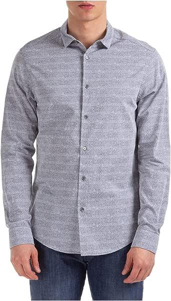 Emporio Armani Hombre Camisa Fantasia BLU L: Amazon.es: Ropa y accesorios