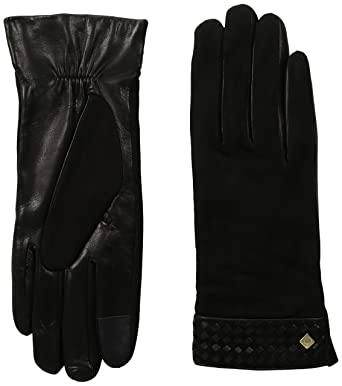 988d7befc48 Cole Haan Women's Braided Cuff Suede Glove with Tech, Black, Small