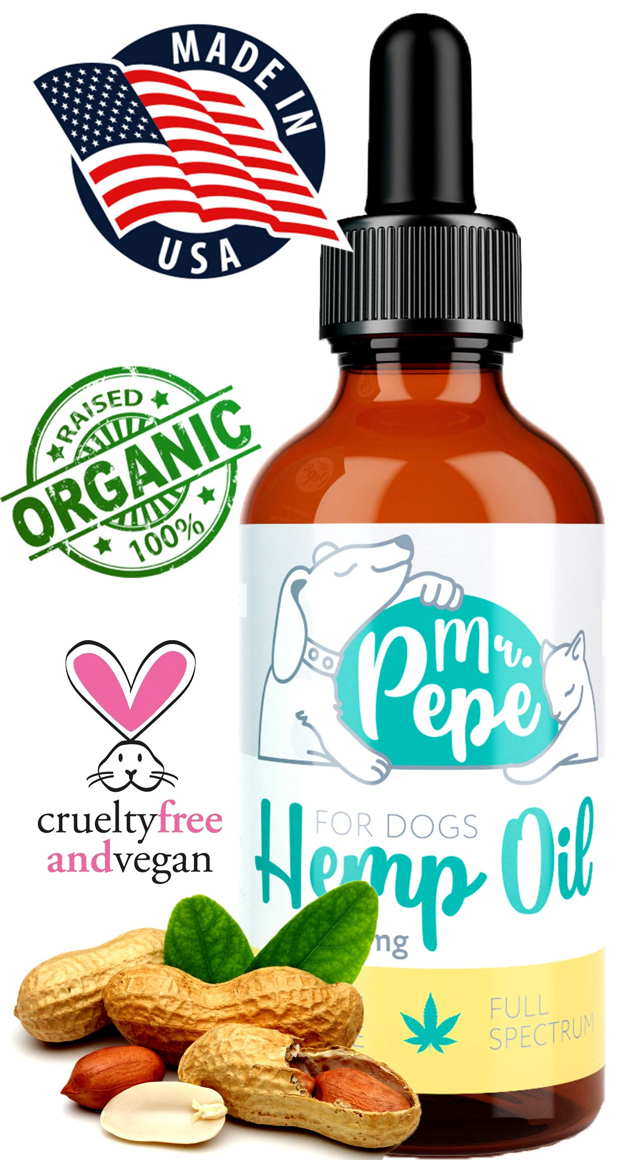 Mr. PePe Full Spectrum Hemp Oil for Dogs & Cats Peanut Butter Flavor 250mg - Organic Pain Relief, Stress & Anxiety Support, Calming Treats, Hip and Joint Health - high in Omega 3,6,9 - Made in USA by Mr. PePe