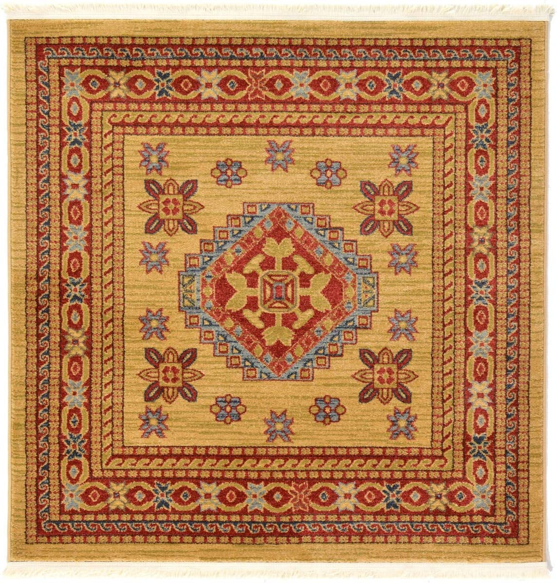 Unique Loom Sahand Collection Traditional Geometric Classic Beige Square Rug 4 0 x 4 0