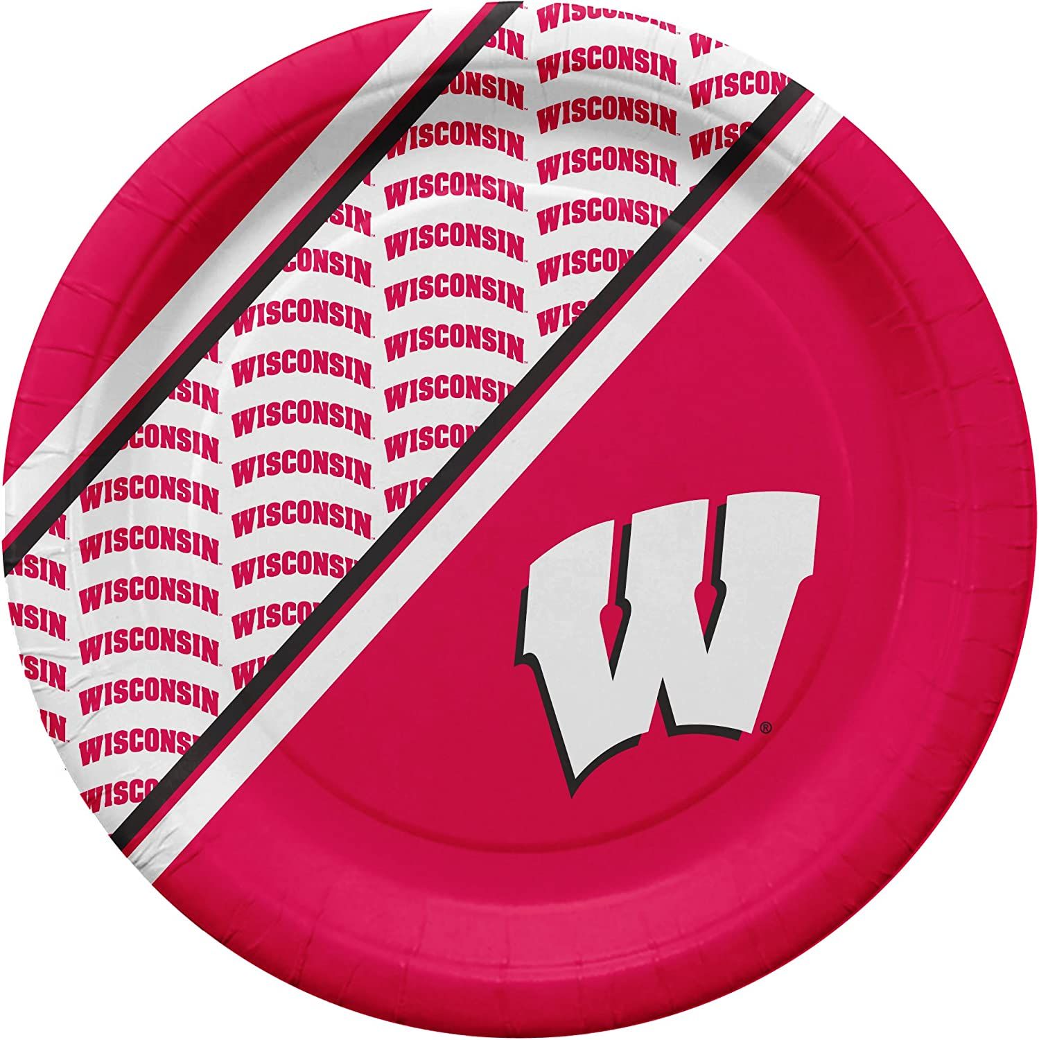 Pack of 20 NCAA Wisconsin Badgers Disposable Paper Plates