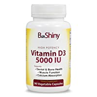 BeShiny Vitamin D3 5000 IU High Potency 90 Vegetarian Capsules in Non-GMO for Enhanced Calcium Absorption, Dental and Bone Health, Muscle Function