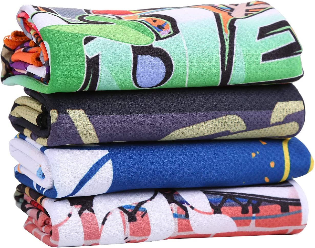 Graphic Design Cooling Towel for Sports, Workout, Tennis, Golf, Fitness, Gym, Yoga, Pilates, Travel, Camping