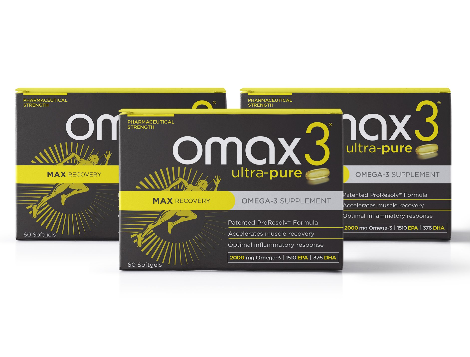 OMAX3® Ultra-Pure MAX Recovery Clinical Strength Omega-3, 2000 MG, 93.9% High-Concentrate, Reduce Inflammation, Improve Recovery, Joint Support, Patented 4:1 EPA-to-DHA, NSF Certified for Sport (180)