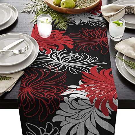 T H Xhome Durable Fabric Table Runner Red Black White Abstract Floral Washable Linen Table Runners For Home Kitchen Dining Table Indoor Outdoor Decor 13x90inches Home Kitchen