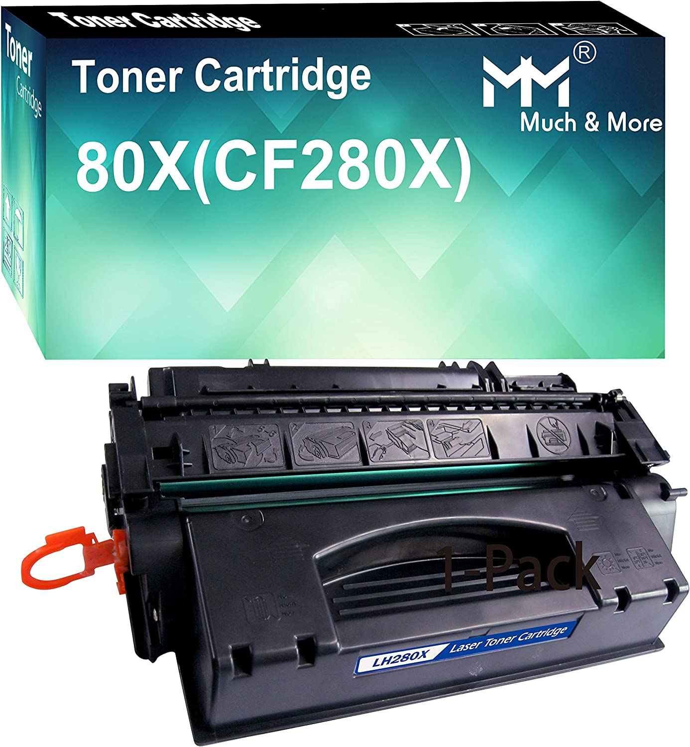(1-Pack, Black) Compatible CF280A 80A Toner Cartridge 280A Used for HP Laserjet Pro 400 M401a M401d M401n M401dn M401dw M425dn M425dw Printer, Sold by MuchMore