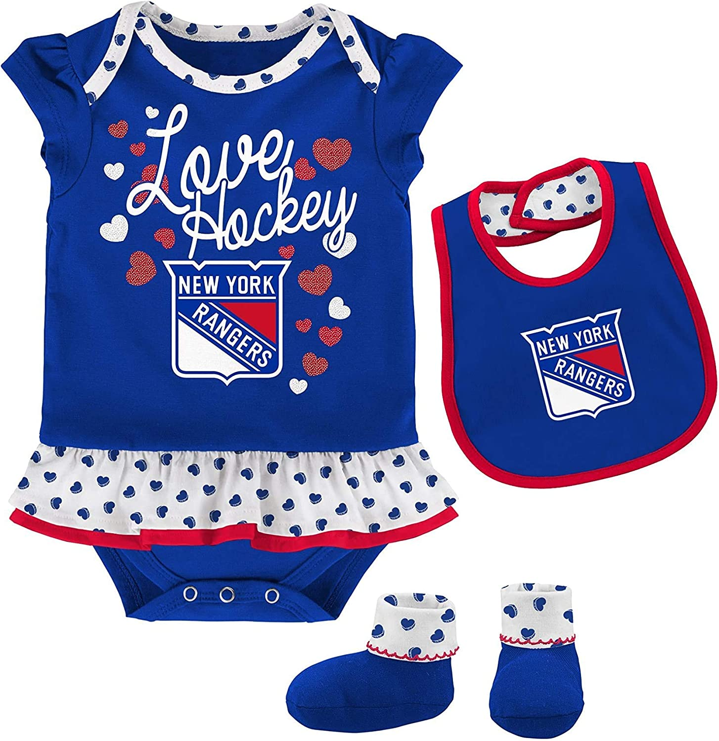 Outerstuff NHL Newborn Infants Blocker 3 Piece Creeper Bodysuit Bib Bootie Set