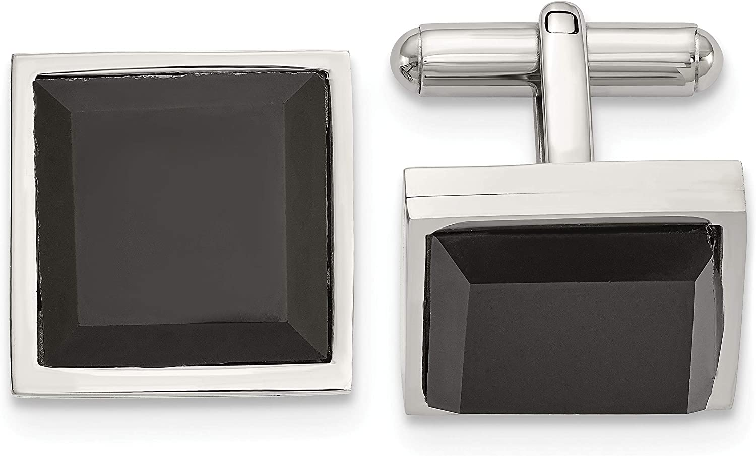 Stainless Steel Polished with Black Onyx Square Cuff Links