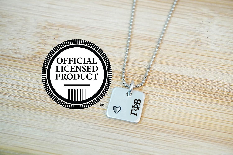 57e61563c91 Amazon.com: Gamma Phi Beta Mini Square Necklace - Official Licensed  Product: Handmade