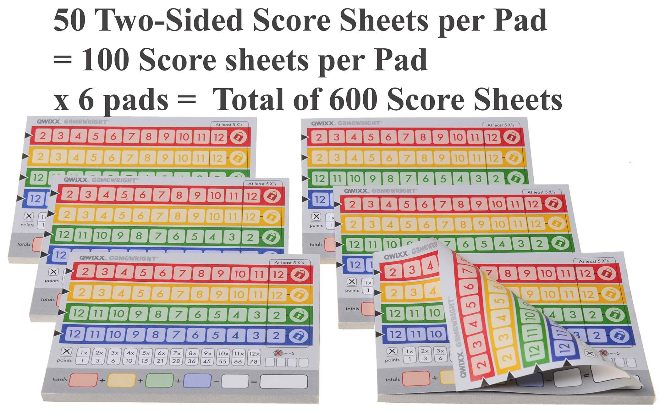 QWIXX 3 Replacement Score Pad Packs _ 600 Score Sheets _ Bonus Gold Metallic Cloth Drawstring Pouch _ Bundled Items by Deluxe Games and Puzzles (Image #2)