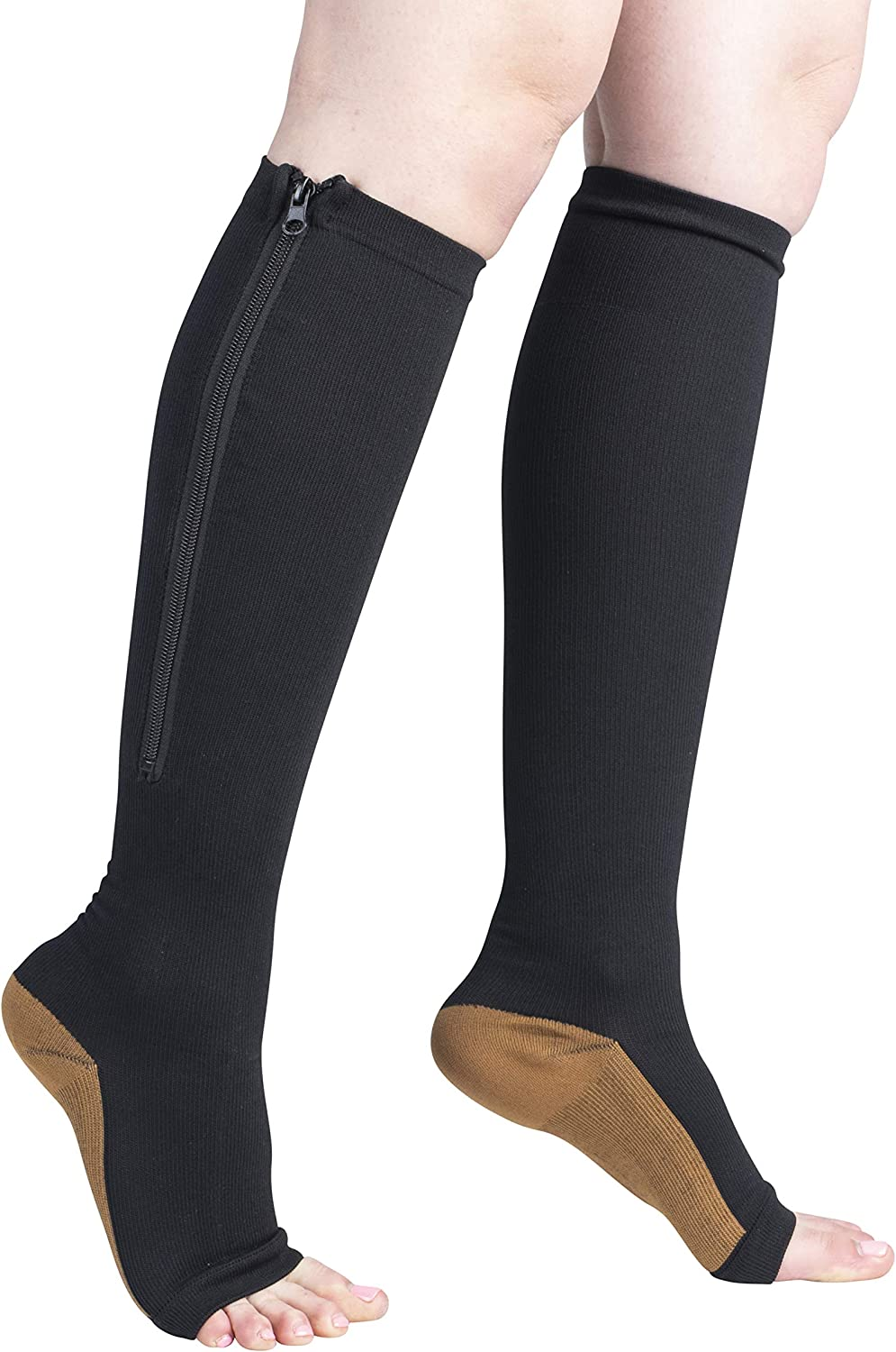 Black Copper Infused Compression Socks with Zipper 20-25 mmHg Open Toe Free Eyeglass Pouch by Juniper's Secret (L/XL)